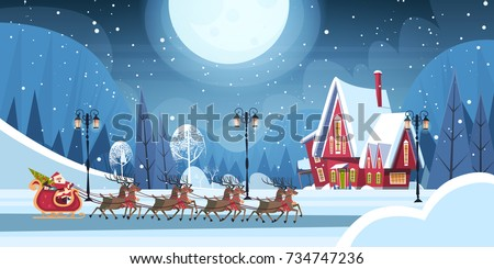 santa riding in sledge with