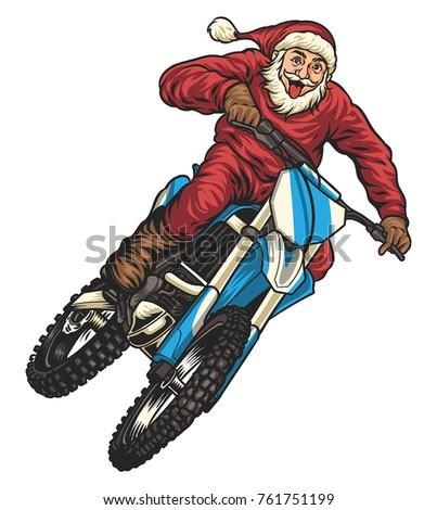 santa riding motocross