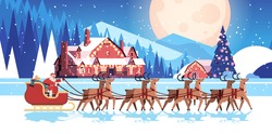 santa riding sledge with reindeers happy new year and merry christmas greeting card holidays celebration concept night winter landscape background horizontal vector illustration
