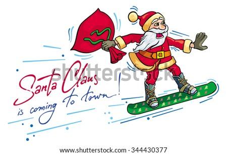 santa riding snowboard