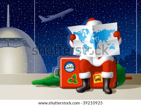 Santa's Christmas travel. Vector