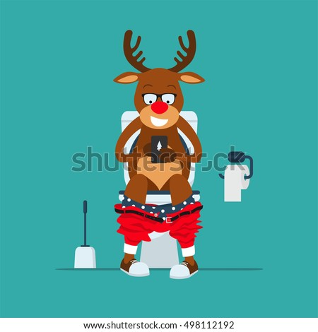 Santa's deer hipster Rudolf sits on  toilet bowl with phone in hands.Toilet bowl, toilet paper and brush for toilet bowl. Greeting Christmas card 2017