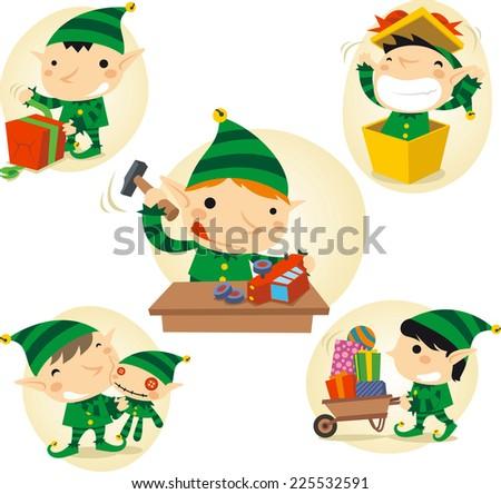 Santa 's Elves action scenes vector cartoon illustration