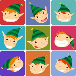 Santa´s Elves christmas avatars vector cartoon illustration