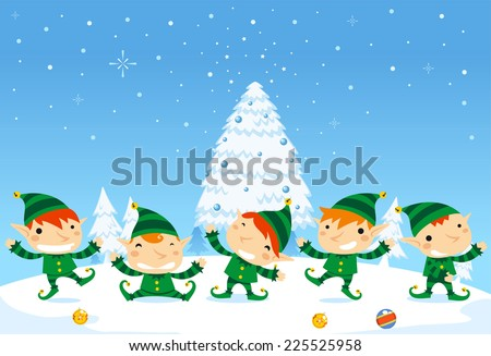 santa s elves playing during