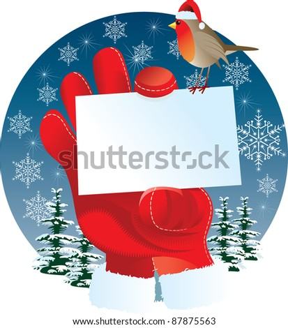 Santa's hand show blank message card