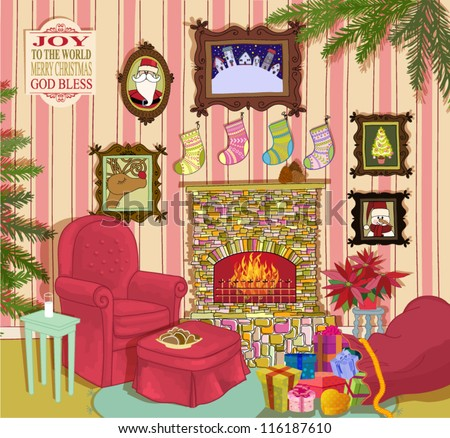 Santa's Living Room - Detailed, hand drawn: Cheerful living room with fireplace, armchair, footstool and side table; Santa Clause's favorite wall paintings, blooming poinsettia, sack full of gifts...