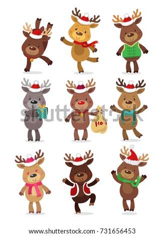 santa's reindeer set vector