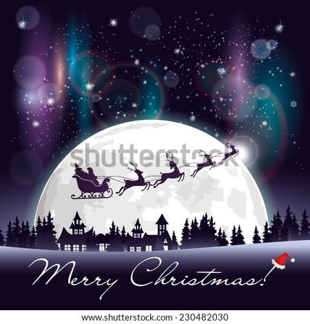 santa's sleigh flying over the