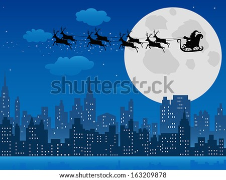 santa's sleigh over urban