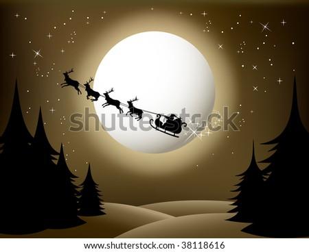 Santa`s sleigh - vector (sepia version) Check Out My Portfolio For Similar Illustrations ...
