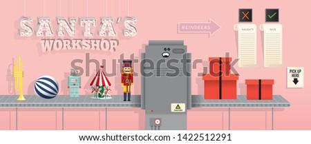 santa's workshop/ christmas gift wrap station template