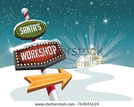 Santa's Workshop illustration with retro sign pointing the way. Cartoon Christmas design. EPS 10 vector illustration.