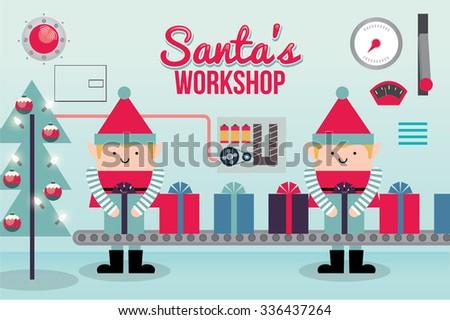 santa's workshop vector/illustration