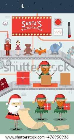 santa's workstation/ workshop vector/illustration