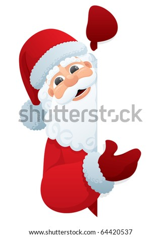 Santa Sign: Santa Claus, holding a blank sign. You can add as much white space as you need. No transparency used. Basic (linear) gradients used.