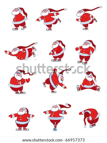 Santa Skating - stock vector