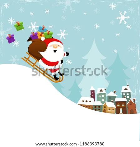 santa sledding to town