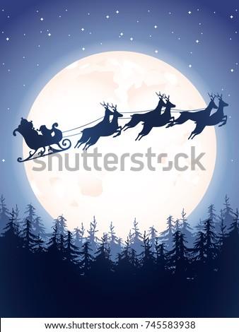 santa sleigh driving over