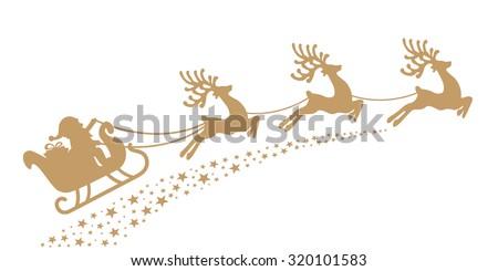 santa sleigh reindeer gold