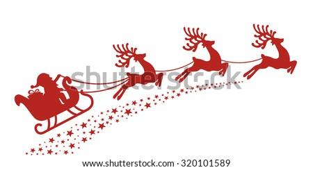 santa sleigh reindeer red