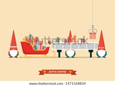 Santa sleigh with piles of presents waiting a gift boxes from robot machine. Vector illustration