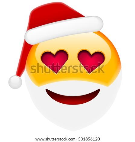 santa smile in love emoticon