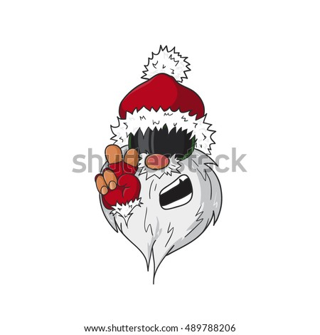 santa snowboarder with peace