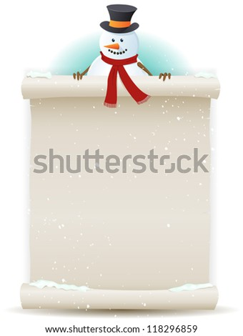 Santa Snowman Background/ Illustration of a cartoon Santa snowman character holding white parchment sign for christmas and winter holidays or children gift list