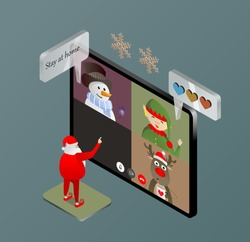 Santa stayed at home and turned on an online video conference on his tablet with his assistants