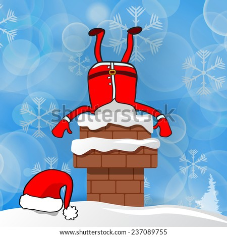 santa stuck in chimney on a