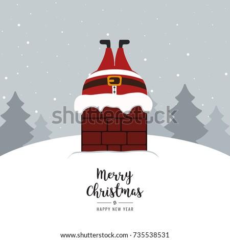 santa stuck in chimney winter