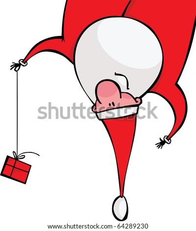 Santa with a gift hanging upside down