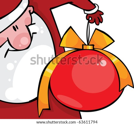 Santa with a huge Christmas ball