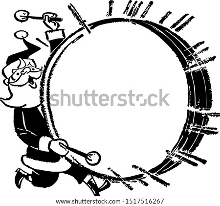 Santa With Bass Drum - Retro Clipart Ad Frame