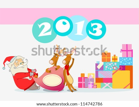 santa with gifts - stock vector