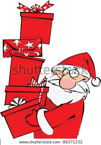 Santa with huge pile of Christmas gifts