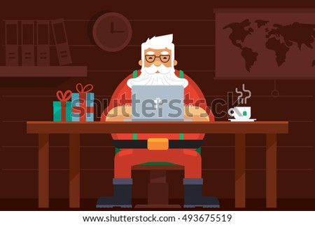 santa work space with laptop