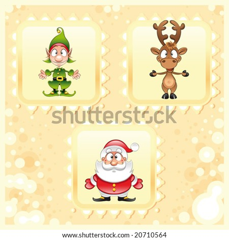 santaclaus  rudolph and elf