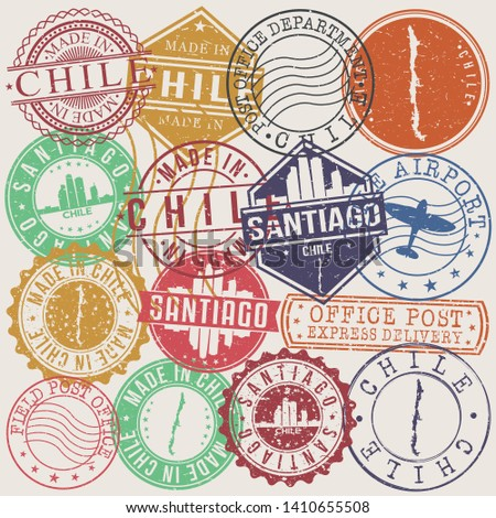 Santiago de Chile Set of Stamps. Travel Stamp. Made In Product. Design Seals Old Style Insignia.