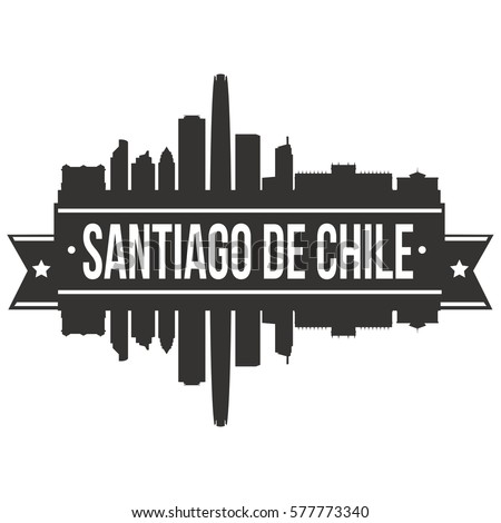 Santiago de Chile Skyline Stamp Silhouette City Vector Design