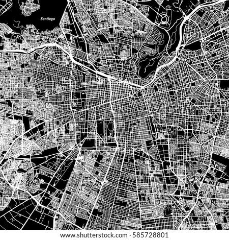 santiago one color map  vector