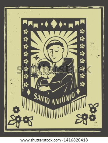 Santo Antonio(Saint Anthony) illustration for Festa Junina decoratio vector. Brazilian woodcut style.
