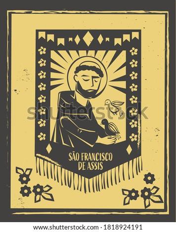 Sao Francisco de Assis ( Saint Francis of Assisi) vector. Brazilian woodcut style illustration.