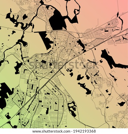 Sao Jose dos Campos, Brazil - Urban vector city map with parks, rail and roads, highways, minimalist town plan design poster, city center, downtown, transit network, street blueprint Foto stock ©