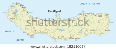 sao miguel island  azores map