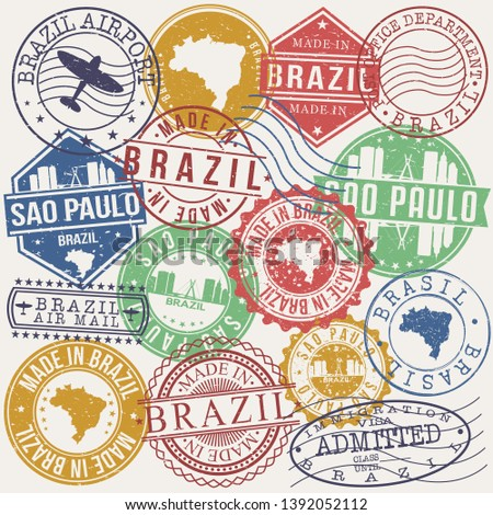 Sao Paulo Brazil Set of Stamps. Travel Stamp. Made In Product. Design Seals Old Style Insignia.