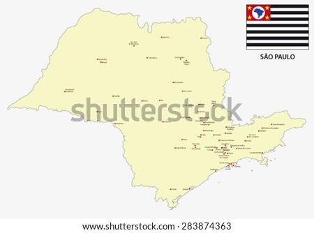 Sao Paulo State Map.Sao Paulo State Map With Flag Ez Canvas