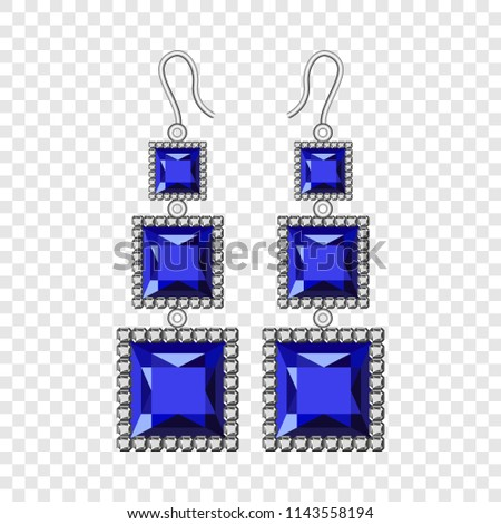 Sapphire earrings mockup. Realistic illustration of sapphire earrings vector mockup for on transparent background