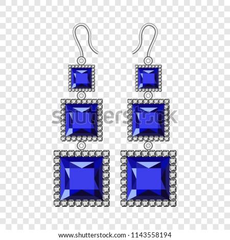 Sapphire earrings mockup. Realistic illustration of sapphire earrings vector mockup for on transparent background